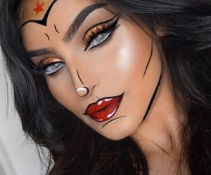 makeup, Halloween, and wonder woman image