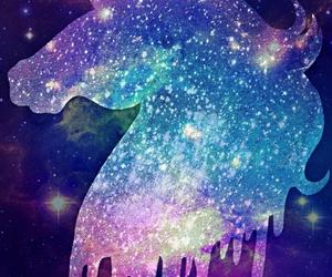 galaxy, unicorn, and stars image