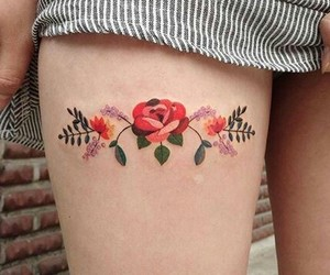 tattoo, flowers, and aesthetic image