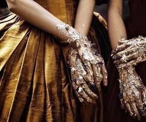 gold, dress, and fantasy image
