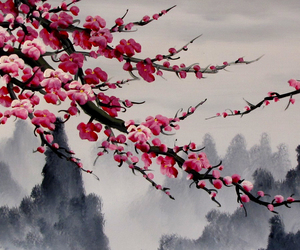 cherry blossoms, painting, and china image