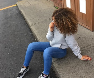curly hair and vans image