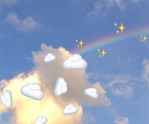 clouds, rainbow, and sparkle image