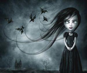 bats, black, and girl image