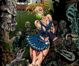 chicas, Halloween, and zombie image