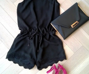 clothes, high heels shoes, and handbag image