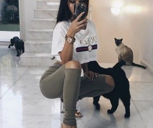 fashion, cats, and girl image