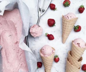 strawberry, food, and ice cream image