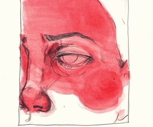 art, red, and drawing image