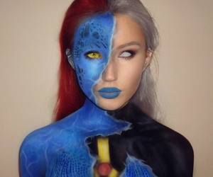 beauty, blue, and body paint image