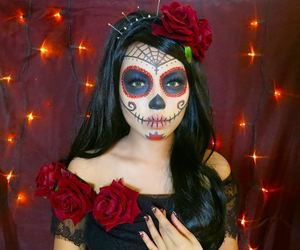 beauty, sugar skull, and halloween makeup image
