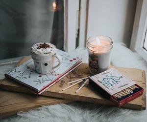 books, candle, and christmas image