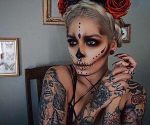 Halloween, makeup, and tattoo image