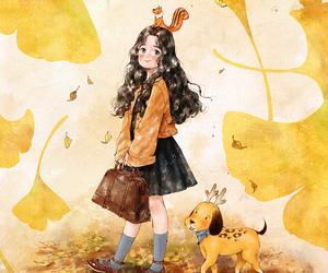 autumn, season, and squirrel image
