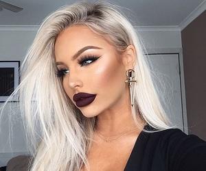 makeup, girl, and lipstick image