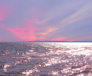 pink, sky, and ocean image