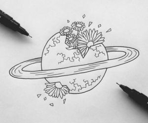 drawing, art, and flowers image