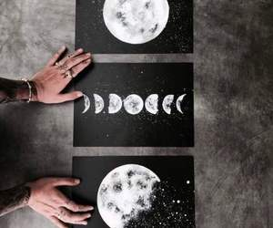 art, moon, and black image
