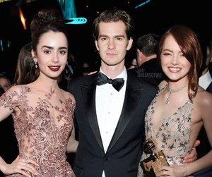 emma stone, lily collins, and andrew garfield image