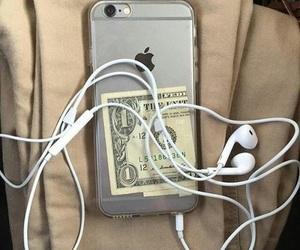 iphone, money, and grunge image