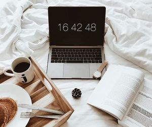 book, breakfast, and macbook image