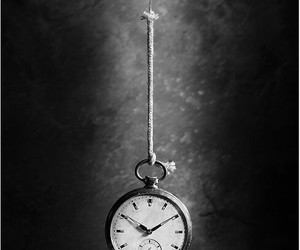 time, black and white, and clock image