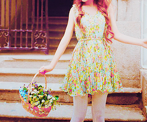 basket, fashion, and flowers image