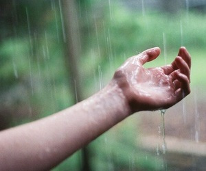 hand, water, and rain image