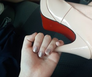glitter, light pink, and nails image