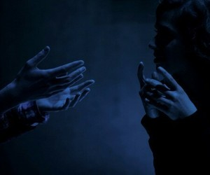 blue, hands, and dark image