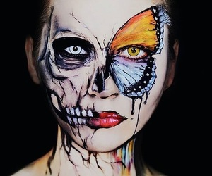 butterfly, Halloween, and skull image