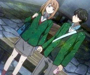 anime, orange, and couple image