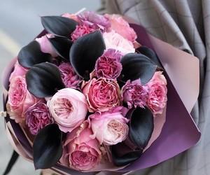 flowers, peony, and girl image