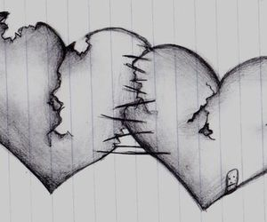 drawing, hearts, and sketch image