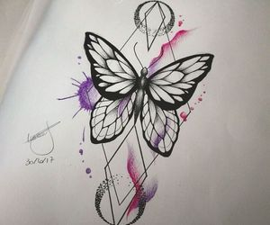 butterfly, Tattoos, and watercolor image