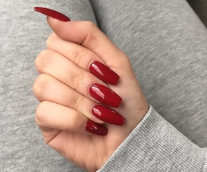nails, burgundy, and red image
