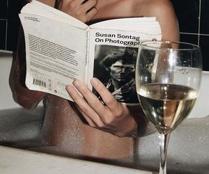 girl, book, and wine image