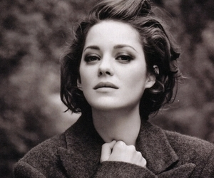 actress, Marion Cotillard, and black and white image