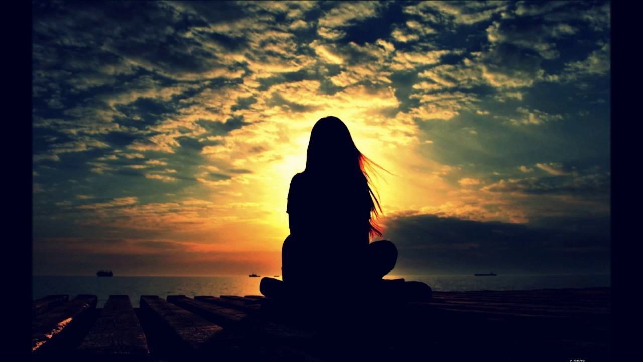 girl, sunset, and alone image