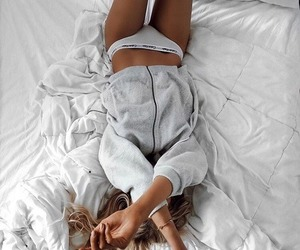 bed, hair, and home image