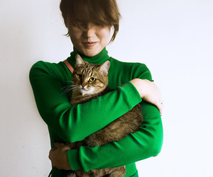 girl and cat, meow, and kitty image
