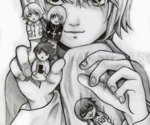 black and white, L, and death note image