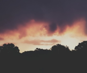 clouds, silhouette, and sunset image