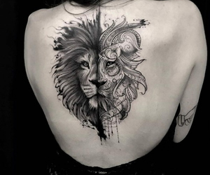 badass, black and white, and lion image