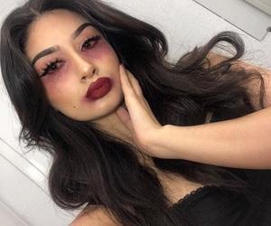 black, eyelashes, and fondation image