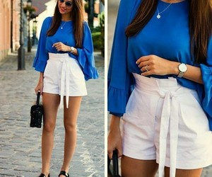 blouse, blue, and brunette image