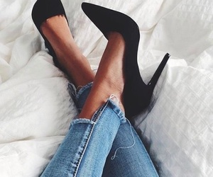 bed, black, and heels image