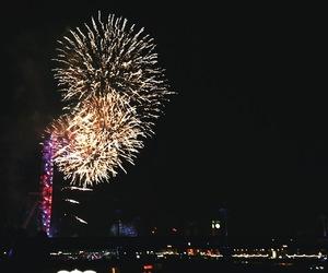 fireworks, london, and london eye image