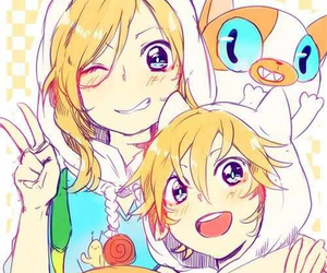 anime girl, jake the dog, and cake the cat image
