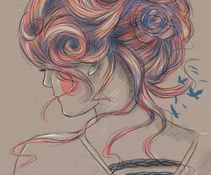 art, draw, and bun image